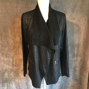 NWT Worthington Black Glittery Drape Front Jacket